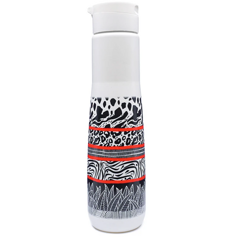 Yuhme Reusable water bottle in black white and red Bamboo Fibre