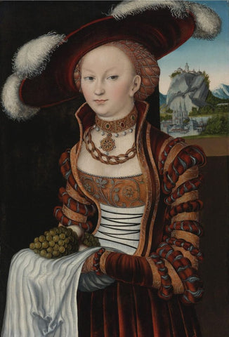 painting of woman in the Middle Ages wearing a knitted snood and large black brimmed hat