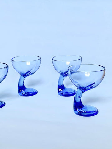 Blue Italian Bormioli Rocco Glasses Home Decor
