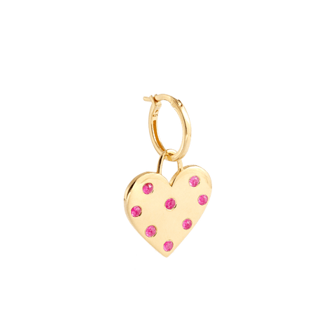 Heart Charm Earring Gold and Pink Crystals