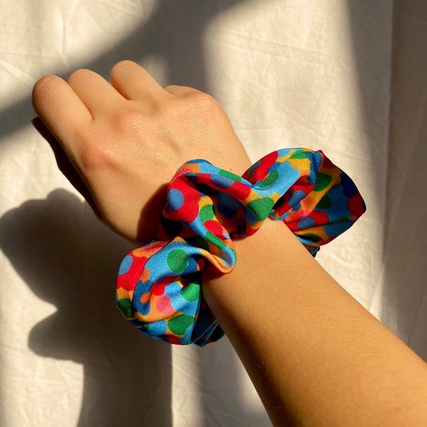 Bloom Floral Print Silky Scrunchie on wrist