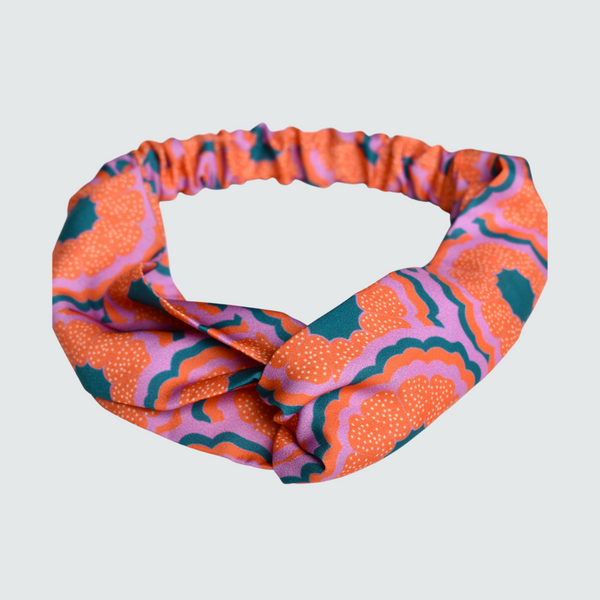 Zesty Print Orange Turban Headband