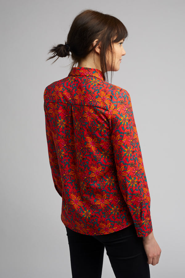Women's Classic Long Sleeve Shirt in Kampot Print
