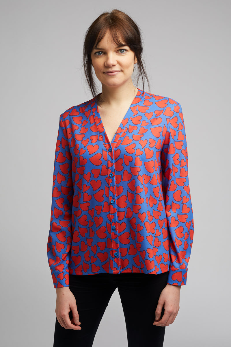 Band Collar Shirt in Heart Print
