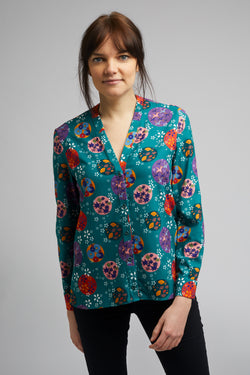 Band Collar Shirt in Origami Print