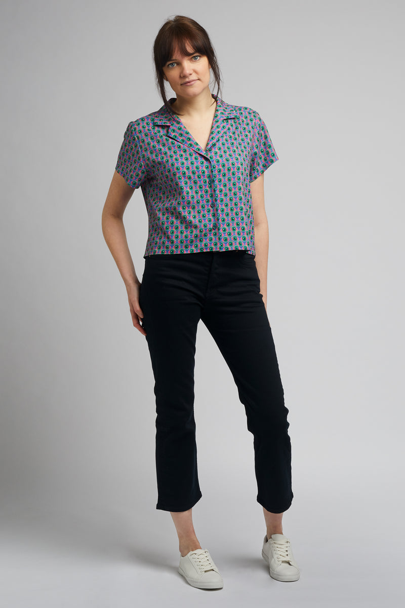 Cropped Cuban Collar Shirt in Eye of Newt Print