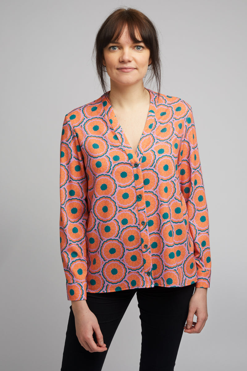 Band Collar Shirt in Zesty Print