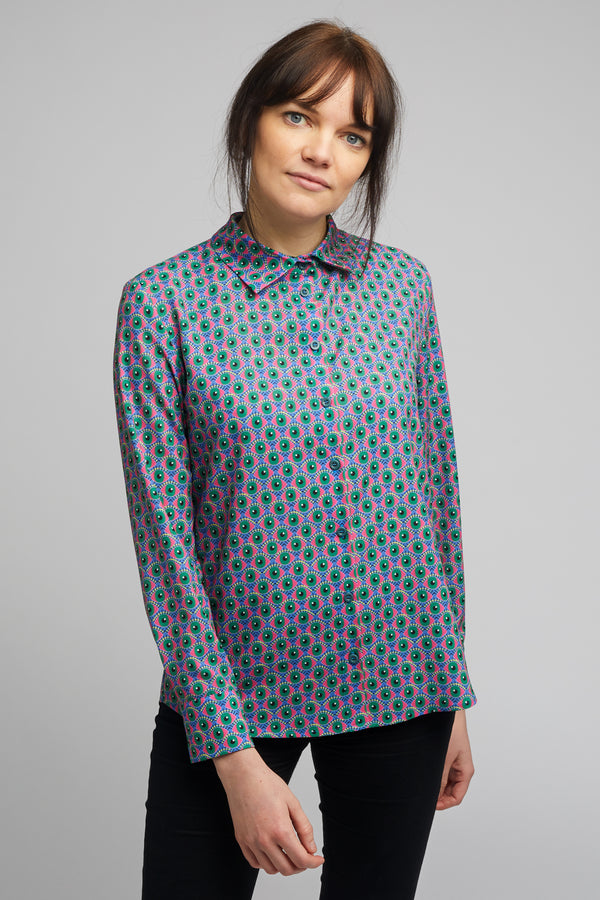 Women's Classic Long Sleeve Shirt in Eye of Newt Print