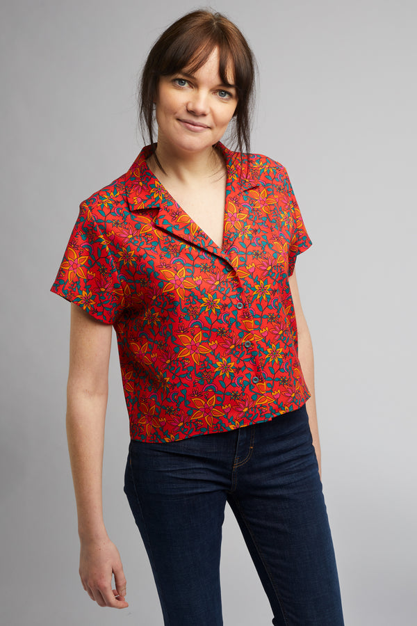 Cropped Cuban Collar Shirt in Kampot Print