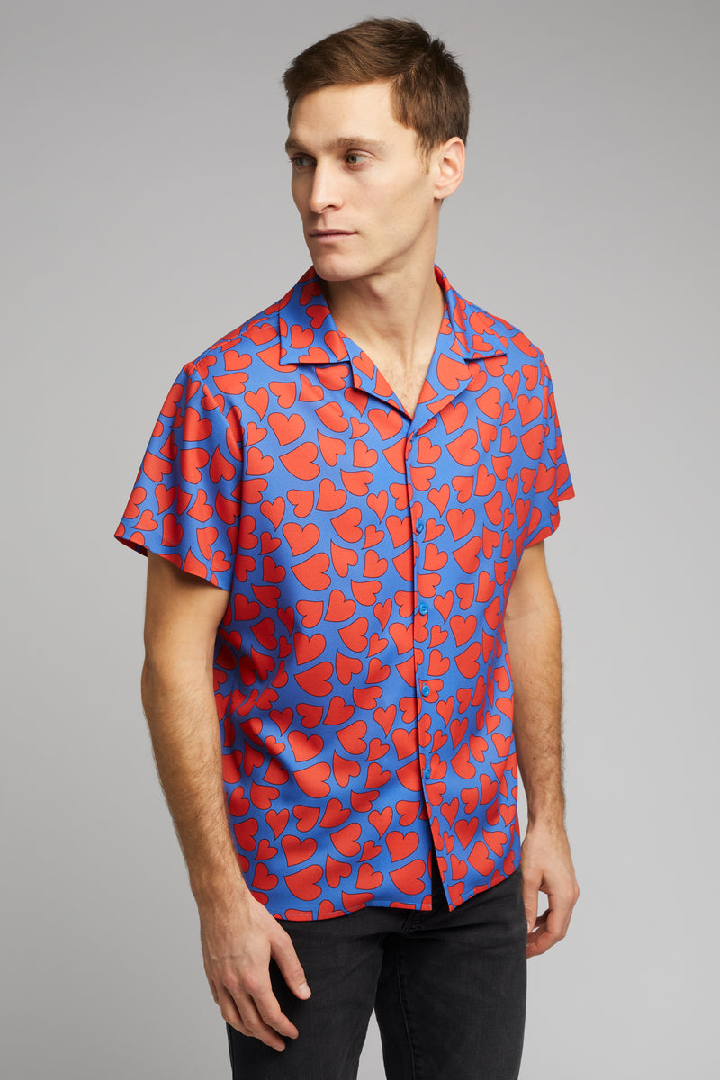 Cuban Collar Shirt in Heart Print