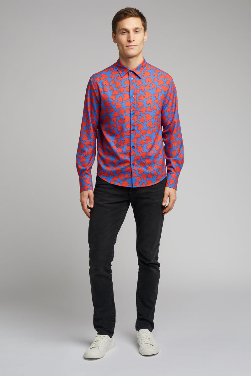 Men's Classic Long Sleeve Shirt in Heart Print