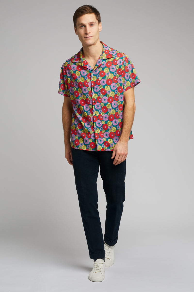 Cuban Collar Shirt in Kiku Print