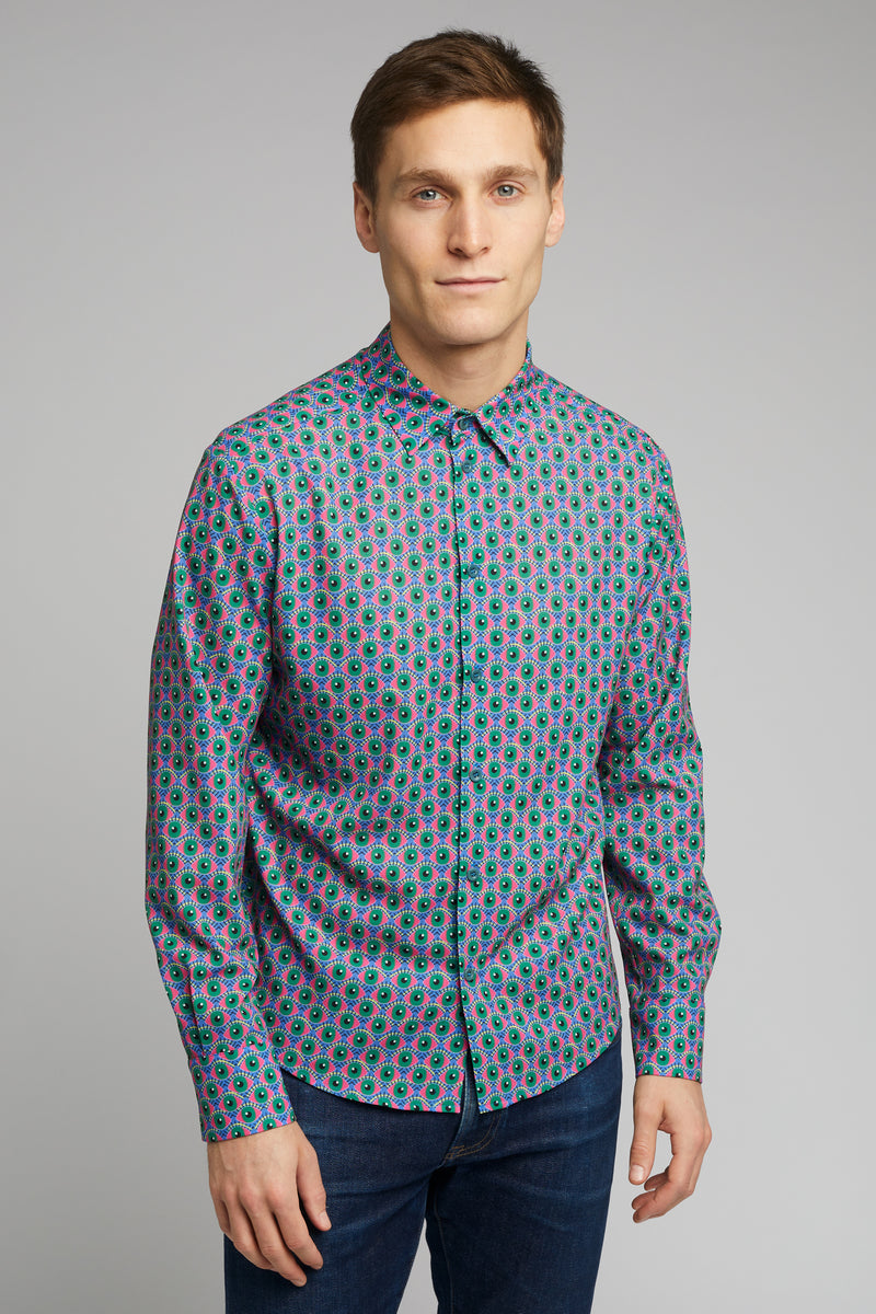 Men's Classic Long Sleeve Shirt in Eye Of Newt Print