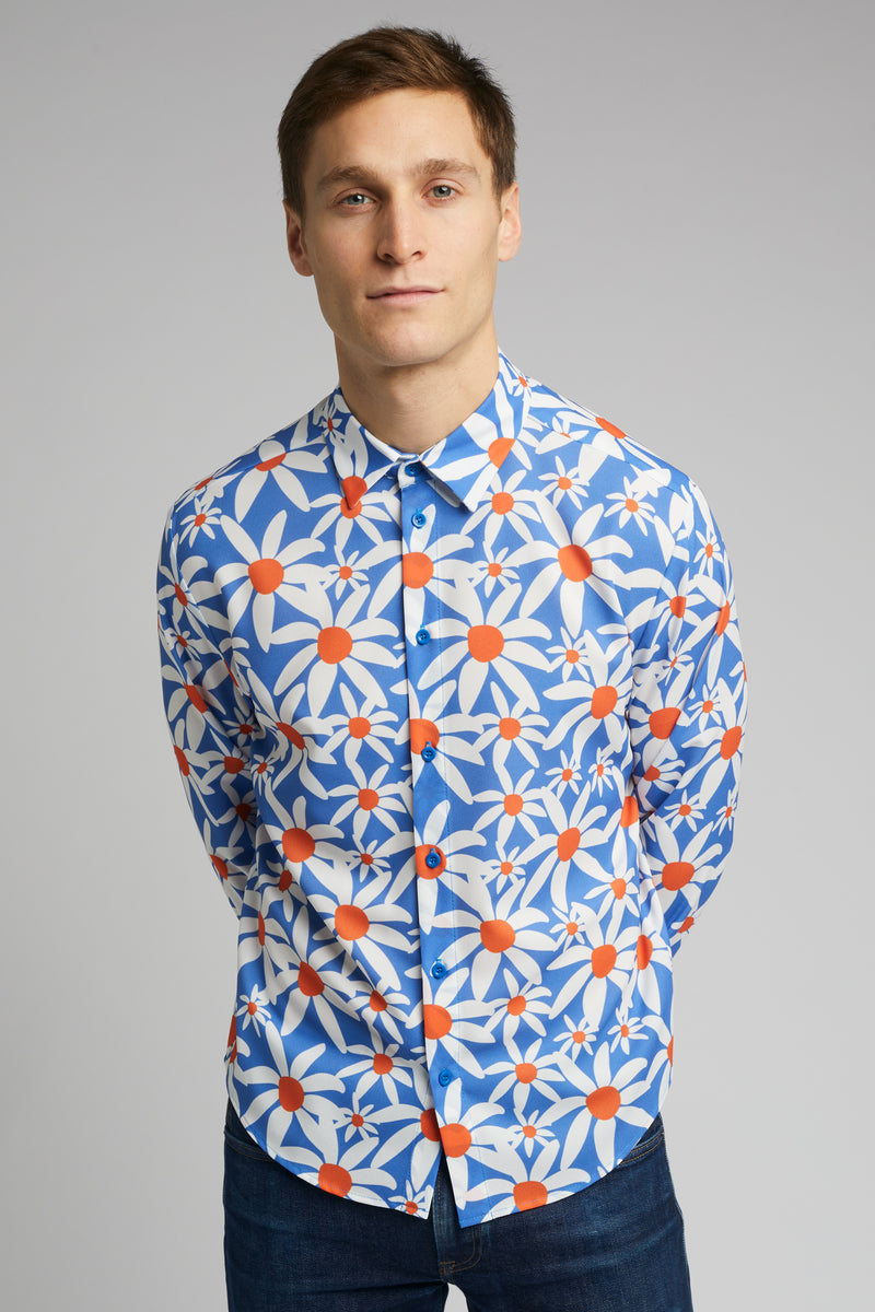 Men's Classic Long Sleeve Shirt in Daisy Print