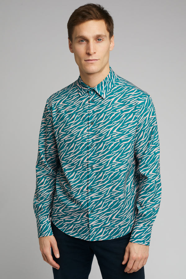 Men's Classic Long Sleeve Shirt in Shima Print
