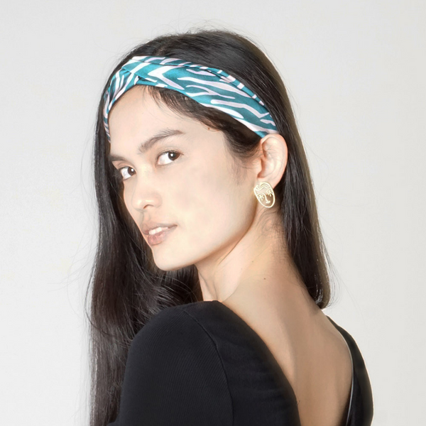 Green Shima Print Twist Knot Headband