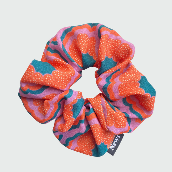 Zesty Print Orange Silky Scrunchie
