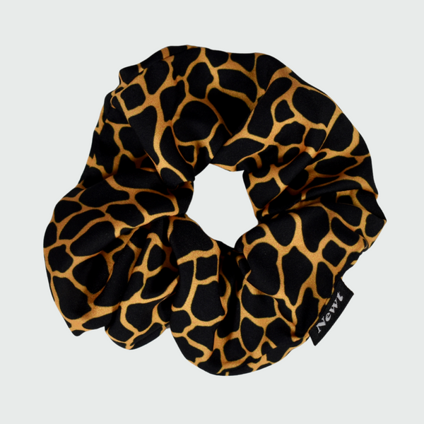 Mosaic Print Black Gold Silky Scrunchie