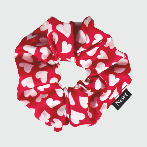 Fuschia Heart Print Silky Scrunchie