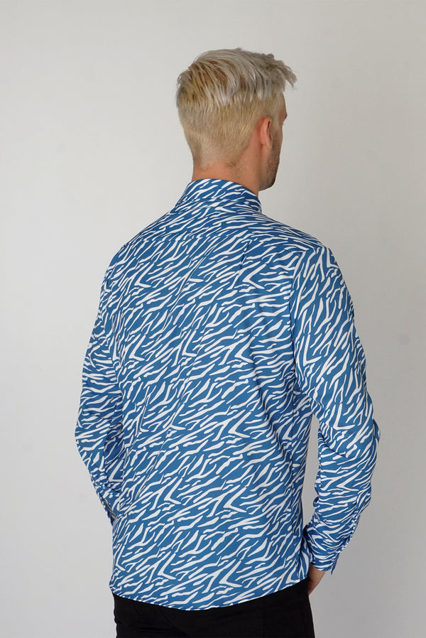 Men's Classic Long Sleeve Shirt in Blue Shima Print