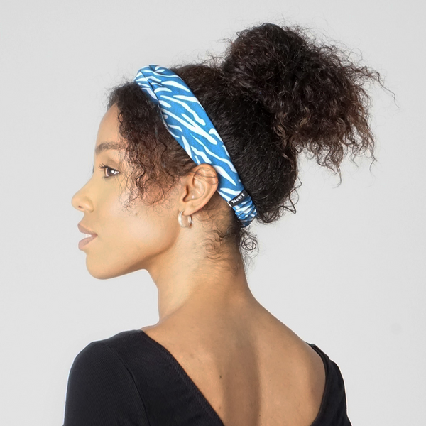 Blue Shima Print Twist Knot Headband