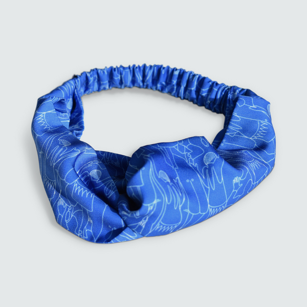 Tiny Dancers Print Blue Twist Knot Headband