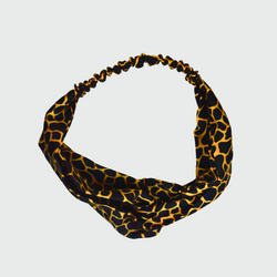 Mosaic Print Black Gold Turban Headband