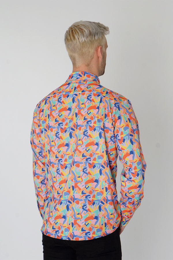 Men's Classic Long Sleeve Shirt in Kefi Print