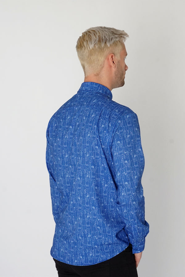 Men's Classic Long Sleeve Shirt in Blue Tiny Dancers Print
