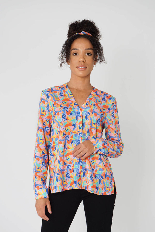 Band Collar Shirt in Kefi Print