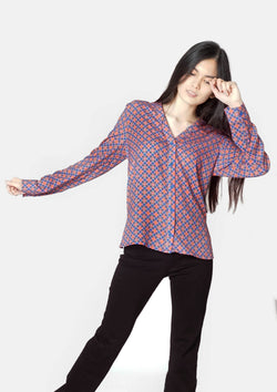 Band Collar Shirt in Ribeira Print