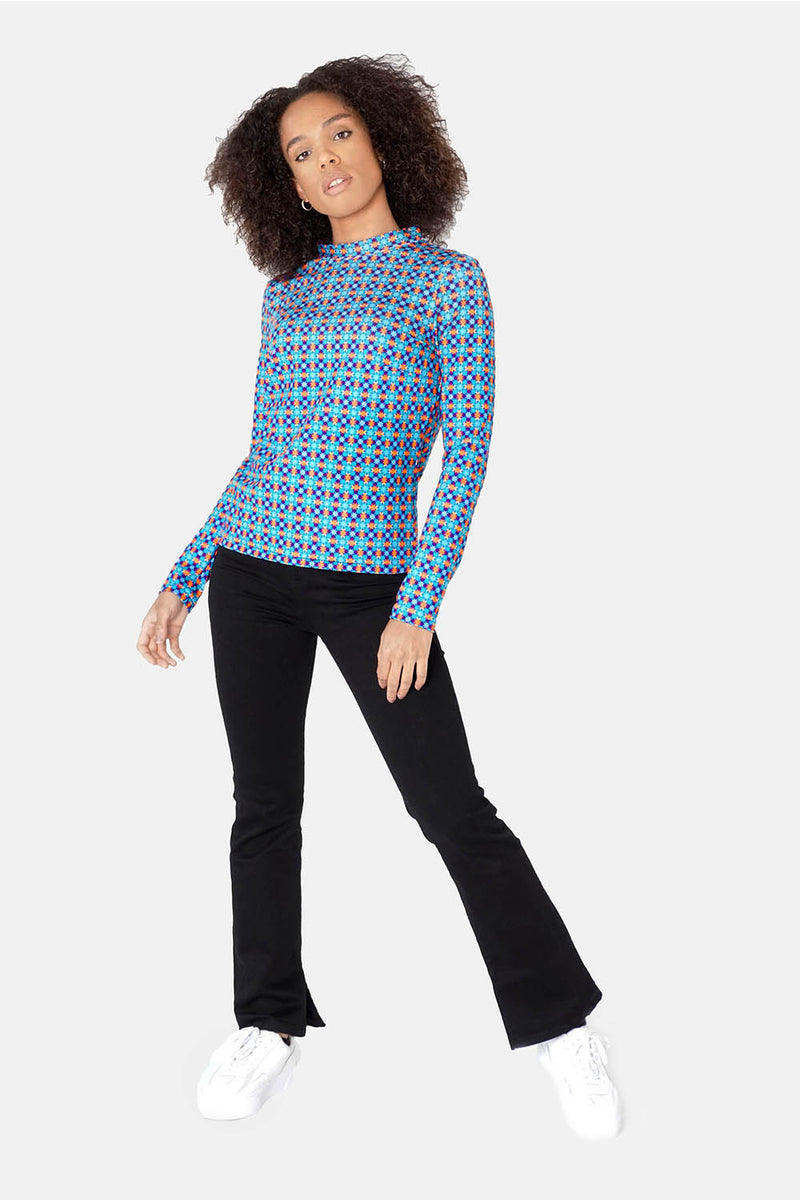 Ribeira Turquoise Mock Turtle Stretch Top