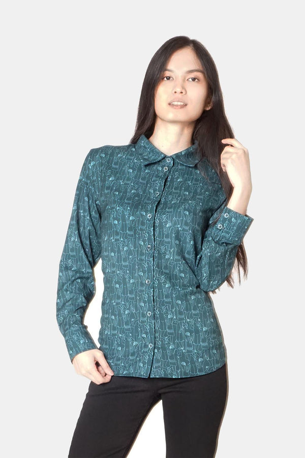 Women's Classic Long Sleeve Shirt in Green Tiny Dancers Print