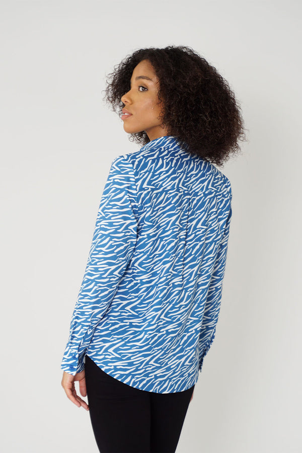 Women's Classic Long Sleeve Shirt in Blue Shima Print