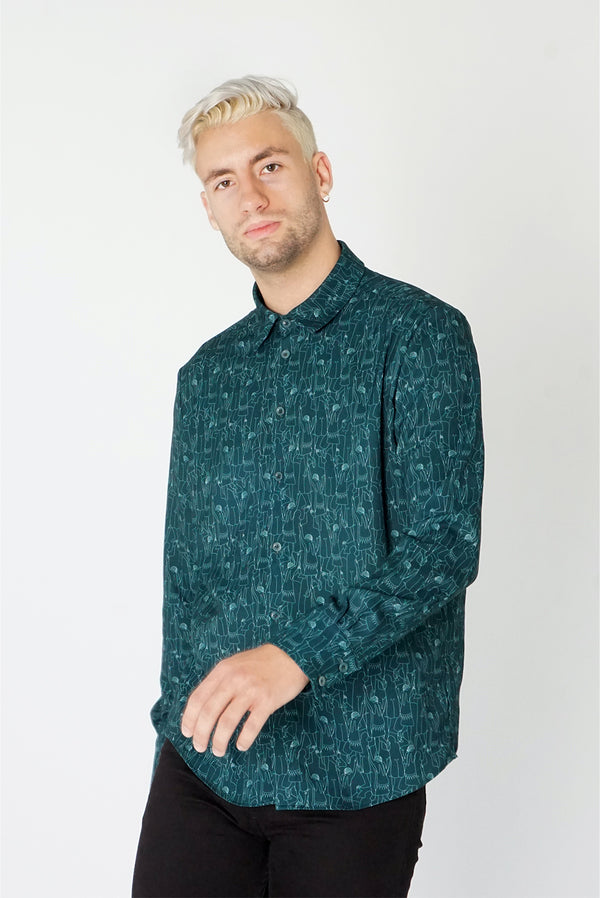 Men's Classic Long Sleeve Shirt in Green Tiny Dancers Print