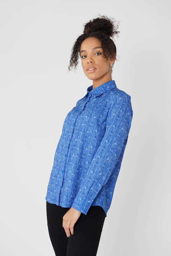 Women's Classic Long Sleeve Shirt in Blue Tiny Dancers Print