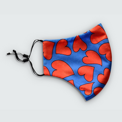 Heart Print Red and Blue Reusable Face Mask
