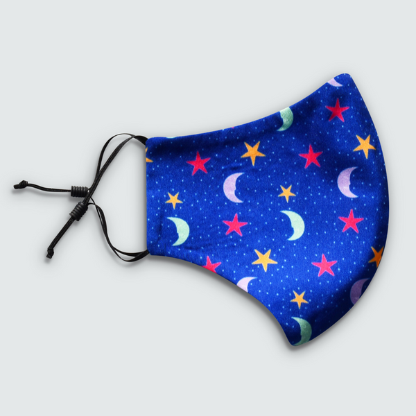 Friendly Moons Print Blue Reusable Face Mask