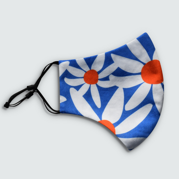 Daisy Print Blue Reusable Face Mask