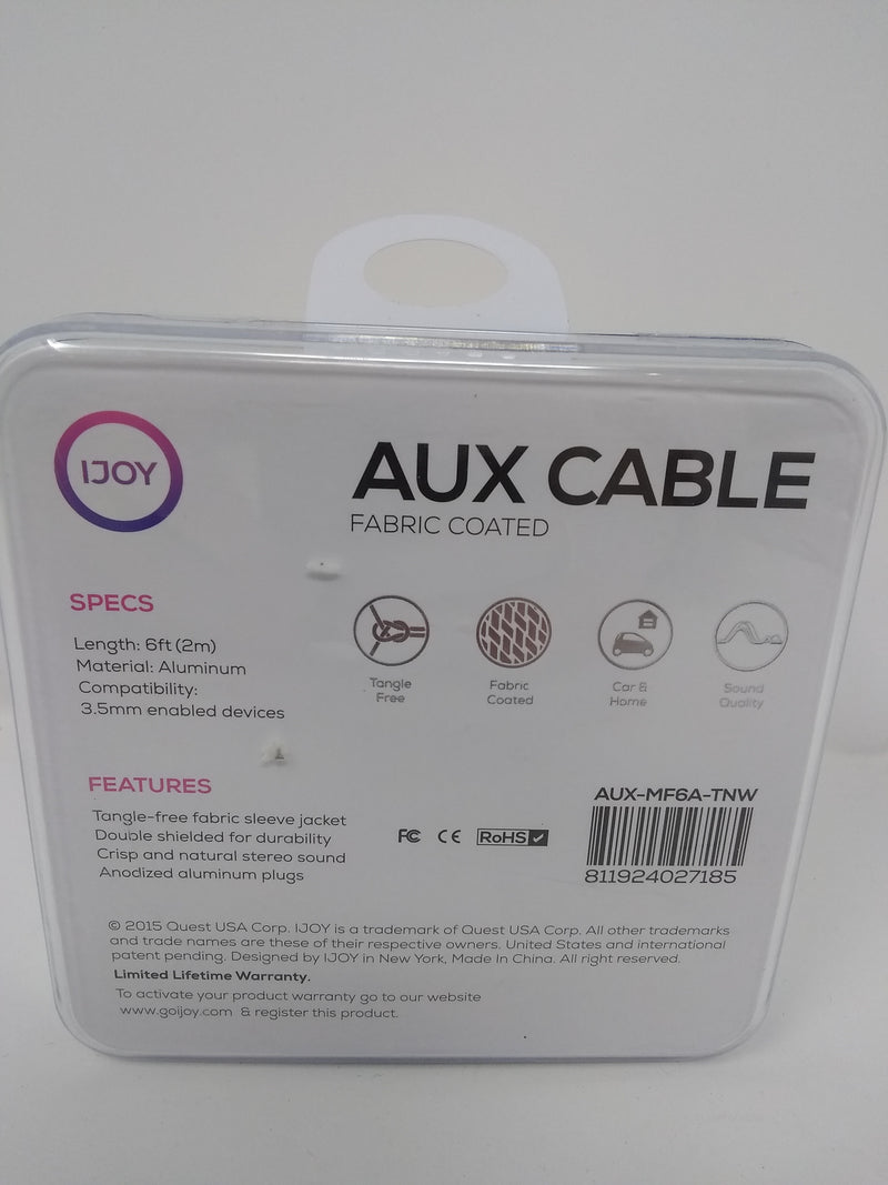 IJOY Aux Cable 6ft (compatible with 3.5 audio plug devices) Brown AUX-MF6A-TNW