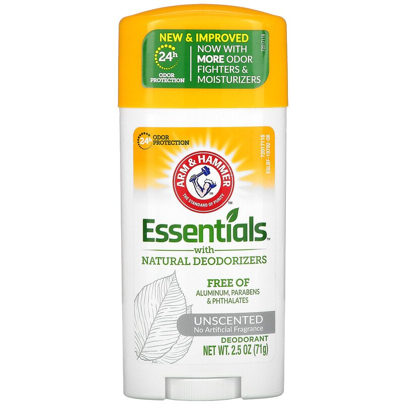 Arm & Hammer Essentials Deodorant- Unscented- Solid Oval-- Made With Natural Deodorizers- Free From Aluminum, Parabens & Phthalates