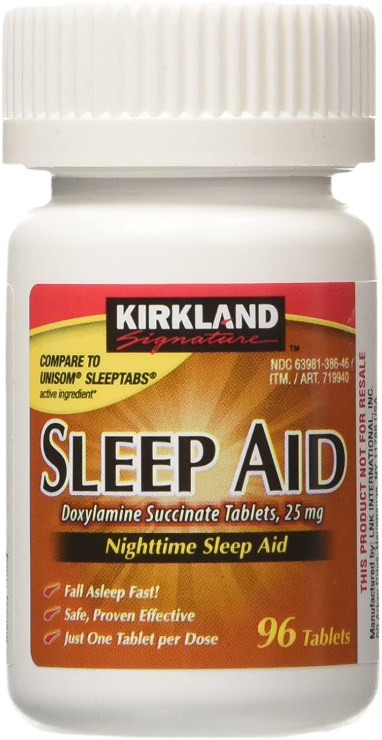 KIRKLAND SIGNATURE Sleep Aid Doxylamine Succinate 25 Mg No Flavor 96 Count