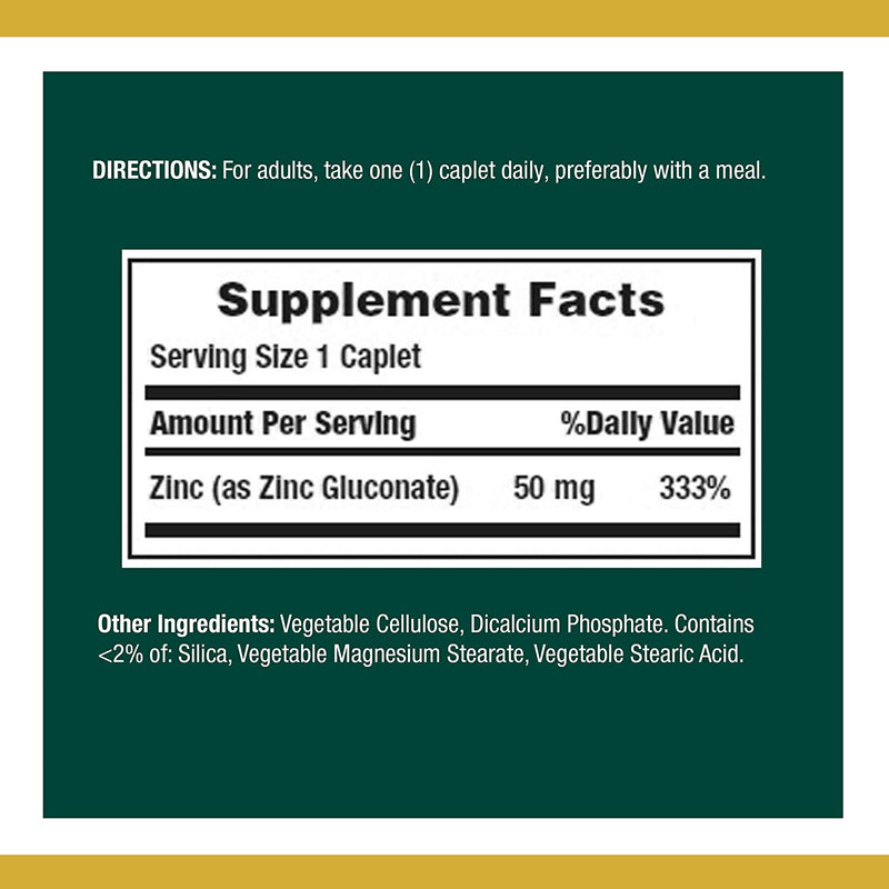 Nature's Bounty Zinc 50 mg 100 caplets