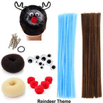 Creativity Kids Crafts DIY Hair Accessories Decor Chenille Stem Pipe Cleaner Pom Pom Googly Eye Bun Maker for Halloween Costume Spider Reindeer Christmas