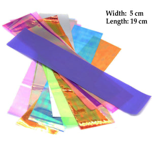 24 Pieces Thin Iridescent Cellophane, Holographic Shattered Broken-Glass Nail Art Decorations