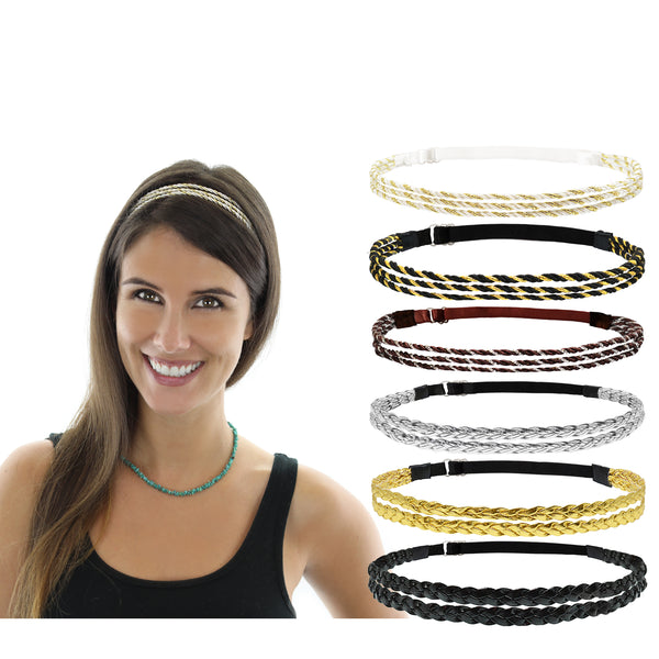 6pcs Adjustable Elastic Non Slip Braided Plaited Women Headbands Hair Bands with Double Braided and Triple Strand Twisted Gold Silver Disco Hippie Boho Bohemian Style Hair Accessories