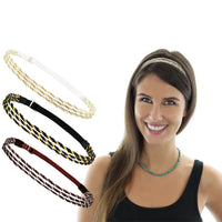 6 Pieces Adjustable Elastic Non Slip Braided Plaited Women Headbands Hair Bands with Double Braided and Triple Strand Twisted Gold Silver Disco Hippie Boho Bohemian Style Hair Accessories