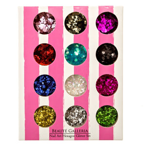 12 Colors Nail Art Hexagon Glitters
