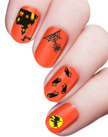 3 Sheets Halloween Theme Assortment Nail Art Water Slide Decals Transfer Stickers Tattoos – Candle, Pumpkin, Ghost, Witch, Haunted House, Bat, Spider, Skeleton, Scary, Stele, Tombstone