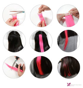 11 Pieces Multi-Color 21 Inches Straight Party Highlights Clip In Synthetic Hair Extensions